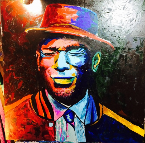 Original painting of Yasin Bey (a.k.a Mos Def). Large, vibrant & textured acrylic on canvas 36x36'